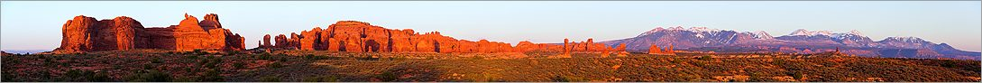 Windows Section en vue panoramique at sunset - Arches National Park (CANON 5D + EF 180mm L)