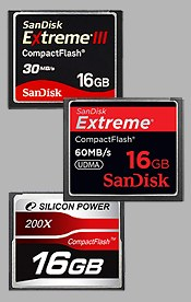 Mesures de performance de cartes m�moires CompactFlash Sandisk, Silicon Power, Transcend